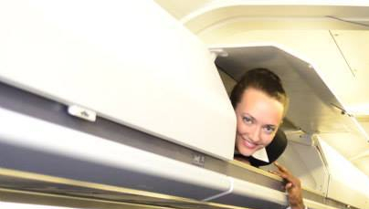 to mainline! (Don't worry, it was just the cabin trainer, not a real overhead bin!)